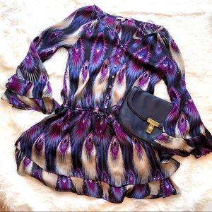 Love 21 Jewel Tone Peacock Tunic Size L